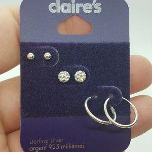 Claire's 3 Sterling Silver Studs & Hoop Earrings